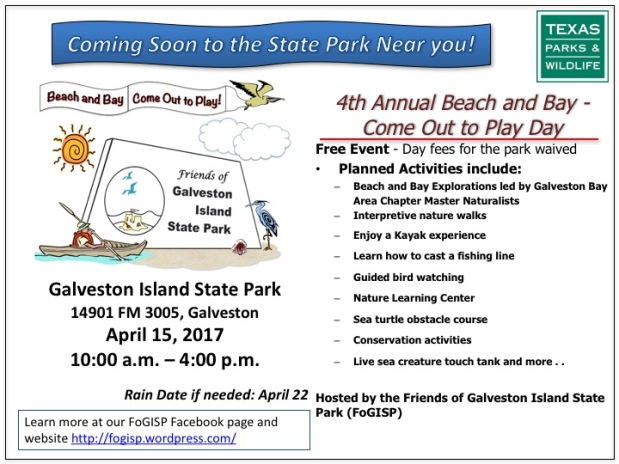 Save the Date – April 15th, 2017 Beach & Bay Day